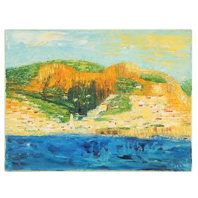 """Coastal Landscape Acrylic Painting """"Amalfi 2nd Time Around"""""""