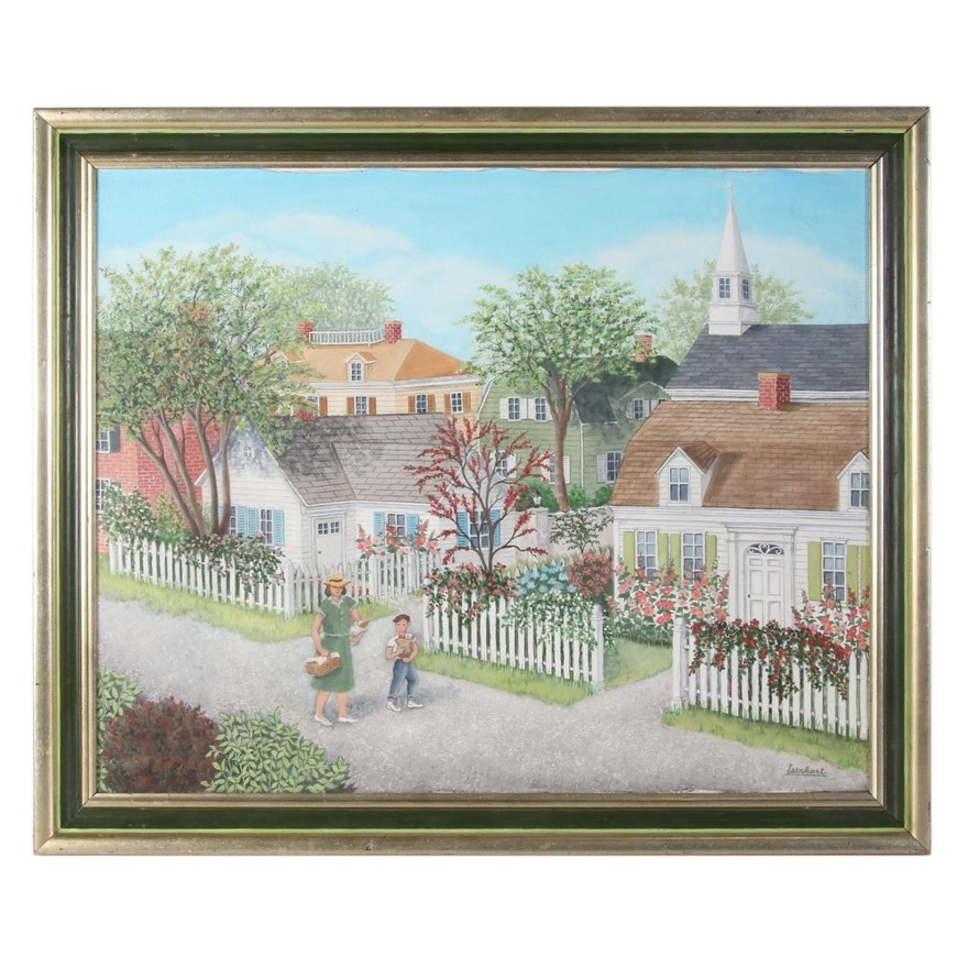 Jeanne Isenhart Suburban Landscape Oil Painting, Late 20th Century