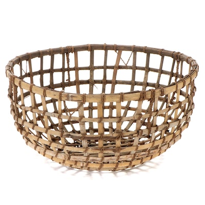 Open Weave Cane and Twine Basket, Early to Mid 20th Century