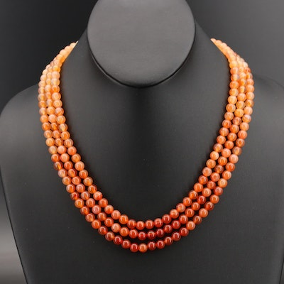 Triple Strand Agate Necklace with Sterling Clasp