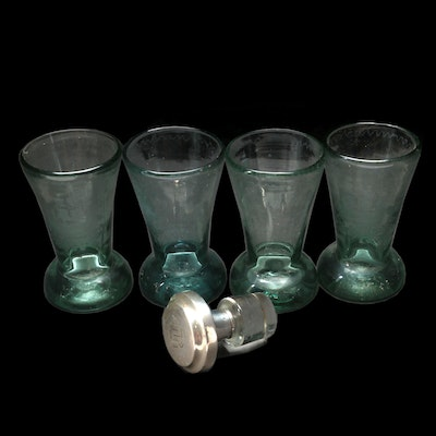 Etched Green Glass Cordials with Sterling Silver Bottle Stopper