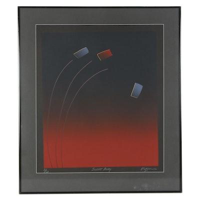 "Modernist Serigraph ""Swept Away,"" Late 20th Century"