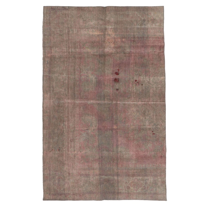 5'11 x 9'4 Hand-Knotted Persian Overdyed Distressed Pile Area Rug, 2010s