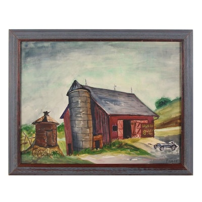 """Watercolor Painting """"Cole Barn,"""" Mid to Late 20th Century"""