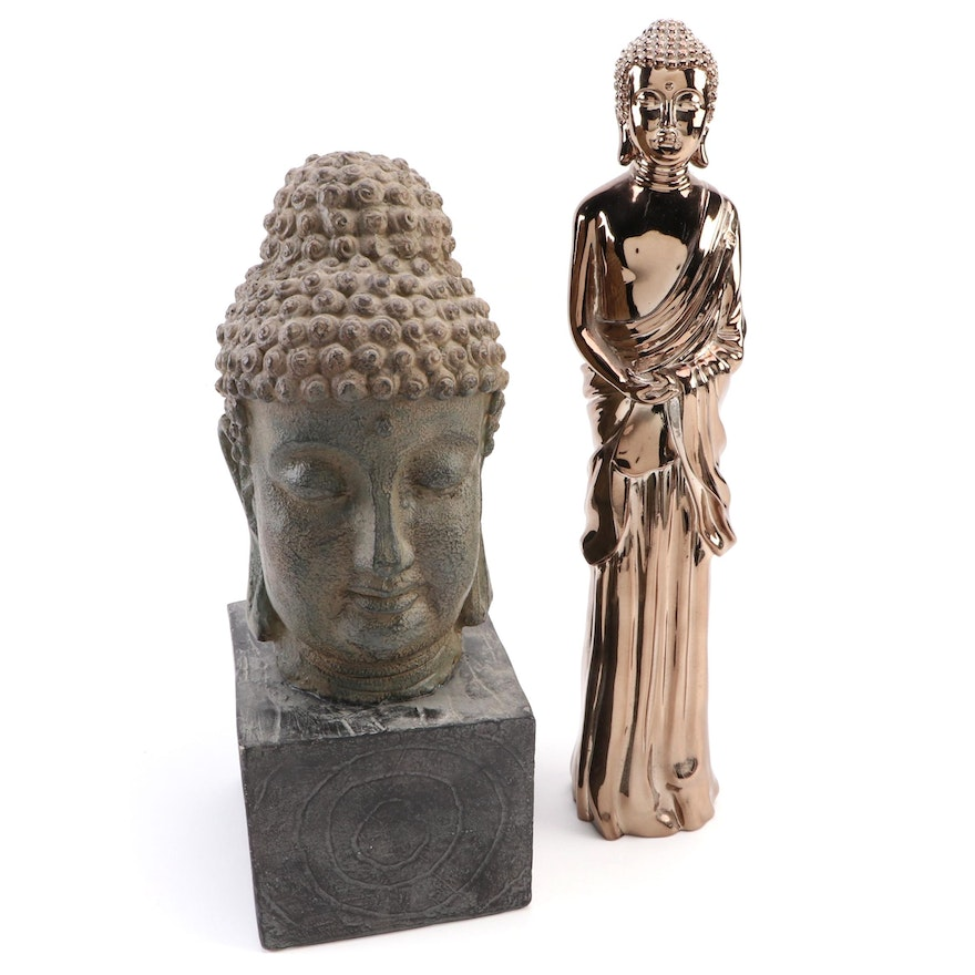 Gold Luster Composite Standing Buddha with Cast Plaster Buddha Head