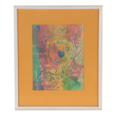 Marti Buente Abstract Portrait Watercolor Painting, 1973