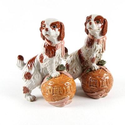 Ceramic Spaniel Standing on Ball Figurines, 21st Century