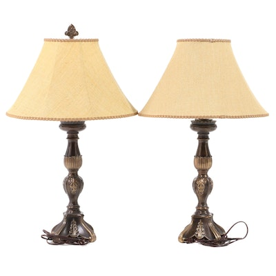 Pair of Neoclassical Style Cast and Patinated Metal Table Lamps