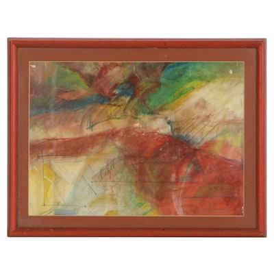Abstract Mixed Media Composition, Mid to Late 20th Century