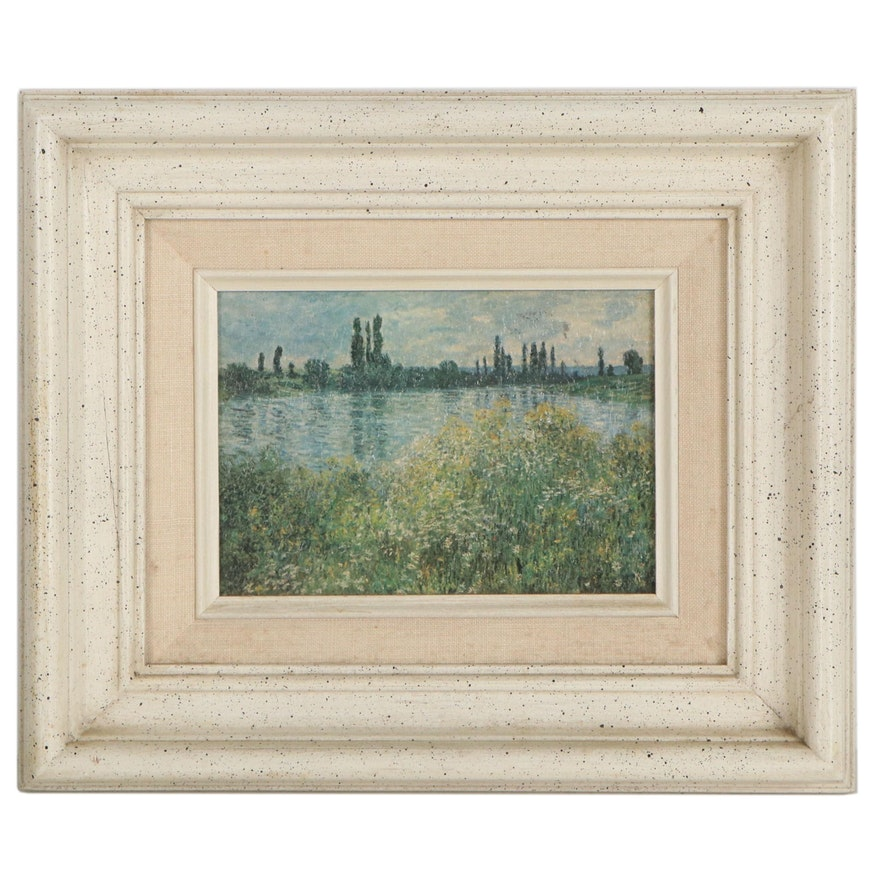 """Offset Lithograph After Claude Monet """"Flowers on the Banks of Seine"""""""
