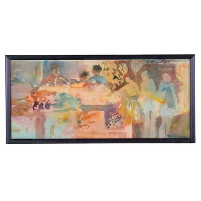 Abstract Watercolor Painting of Figures