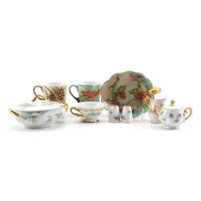 Hertel Jacob and Other Hand-Painted Porcelain Tableware, Mid-20th Century