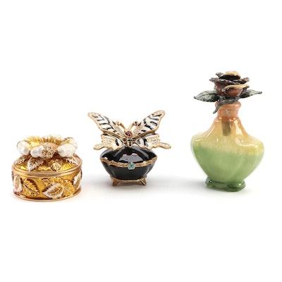 Jay Strongwater Enamel and Rhinestone Decorative Boxes and Perfume Bottle