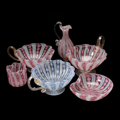 Murano Handblown Zanfirico and Latticino Art Glass Footed Nappy Dishes and More