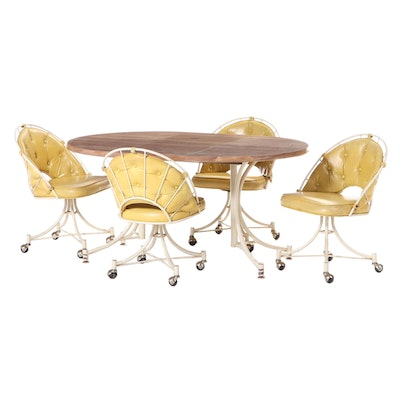 Modernist Five-Piece Metal and Laminate Top Dining Set, Late 20th Century