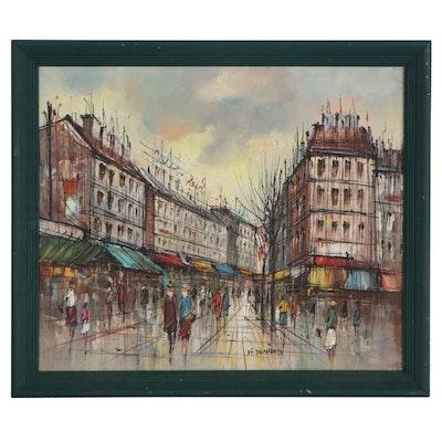 H. Duchamp Oil Painting of Parisian Street Scene, Late 20th Century