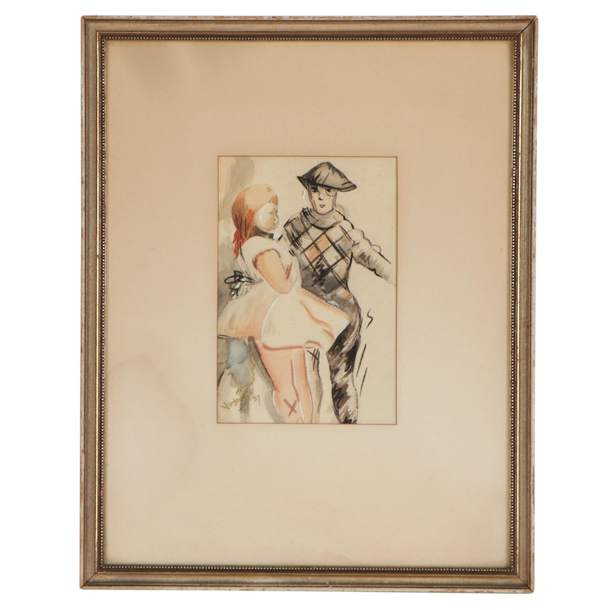 Figural Watercolor Painting, 1937