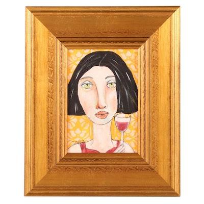 "Deborah McEvoy Acrylic Painting ""May You Be Happy,"" 21st Century"