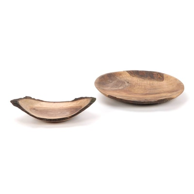 Jim Eliopulos Turned Live Edge Bowl and Other Walnut Wood Bowl