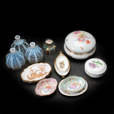 Old Pairs Porcelain and Opalescent Glass Perfume Bottle with Other Porcelain
