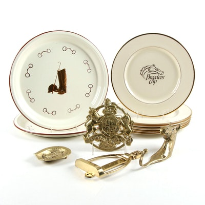 Lenox 1991 Breeders' Cup Porcelain Plates with Brass Horse Motif Décor and More