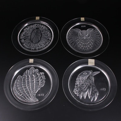 Lalique Crystal Annual Plates Designed by Marie Claude Lalique, 1970–1973