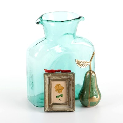 Blenko Surf Green Water Pitcher, Enameled Brass Pear Figurine, and Rose Painting