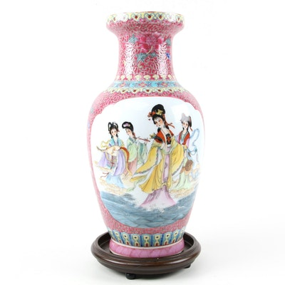 Chinese Porcelain Famille Rose Four Beauties Vase on Wooden Stand