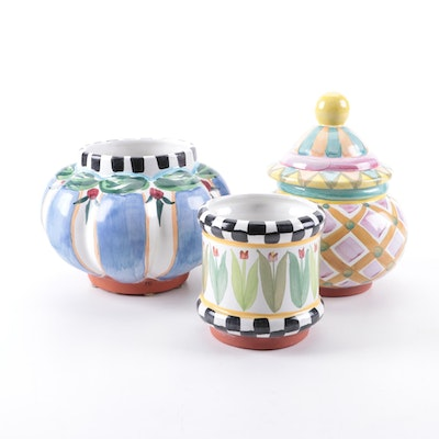 MacKenzie-Childs Pastel and Floral Motif Ceramic Jars, Late 20th Century