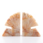 Carved Calcite Fan Design Bookends, Mid-20th Century