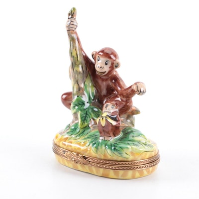 E.G. Versailles Limoges Porcealin Hand-Painted Monkey and Baby Limoges Box