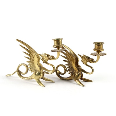 Brass Winged Griffin Candle Holders, Mid to Late 20th Century