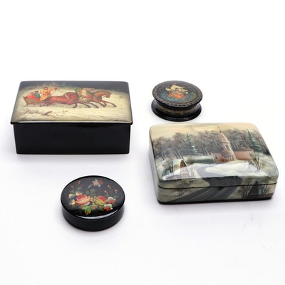 Russian Hand-Painted Lacquerware Boxes, Mid to Late 20th Century