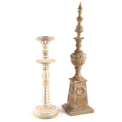 Oakland Nursery Wooden Candlestick with Architectural Neoclassical Style Finial