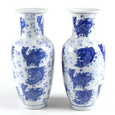 Chinese Porcelain Koy Fish Blue on White Vases