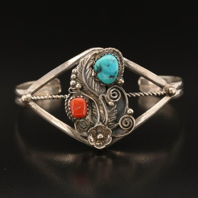 Southwestern Sterling Coral and Turquoise Cuff