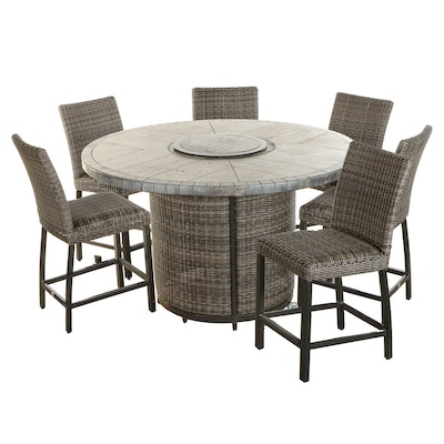 Agio Resin Wicker Bar Height Fire Pit Dining Set