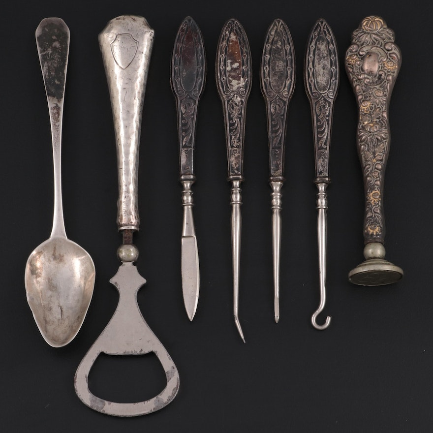 Nicholas Geffory Rhode Island Coin Silver Spoon and Other Sterling Handled Items