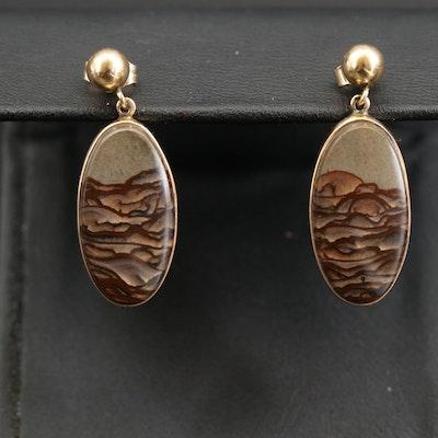 14K Landscape Jasper Earrings