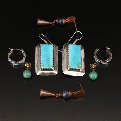 Earrings Including Sterling, Turquoise, Aventurine Quartz and Lapis Lazuli
