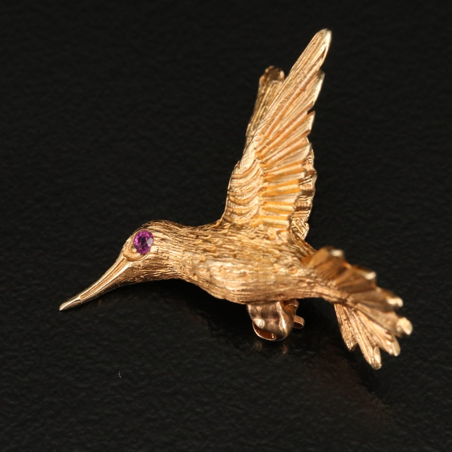 14K Ruby Humming Bird Brooch