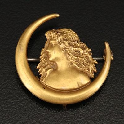 Art Nouveau 14K Crescent Moon and Woman Profile Brooch