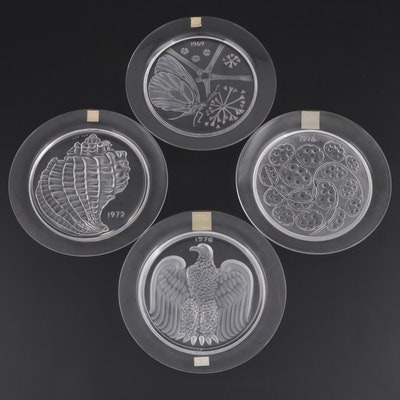 Lalique Crystal Annual Plates, Late 20th Century