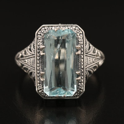 Sterling Aquamarine Solitaire Ring
