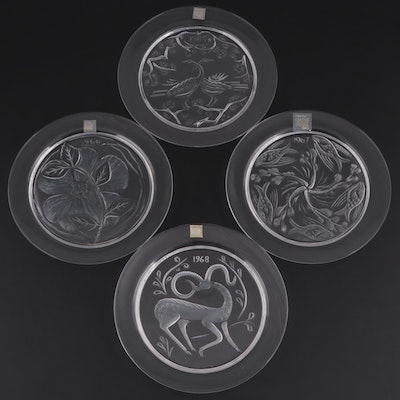 Lalique Crystal Annual Plates Designed by Marie Claude Lalique, 1965–1968