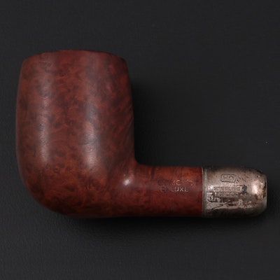 Comoy's De Luxe English Burl Wood Tobacco Pipe with Sterling Silver Army Mount