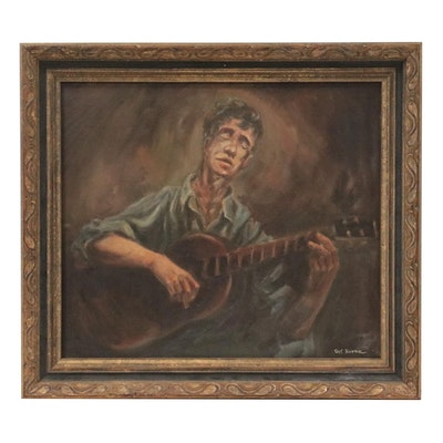 Gus Bowman Oil Painting of Musician, Late 20th Century