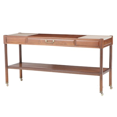 Mid Century Modern Walnut and Travertine Two-Tier Console Table