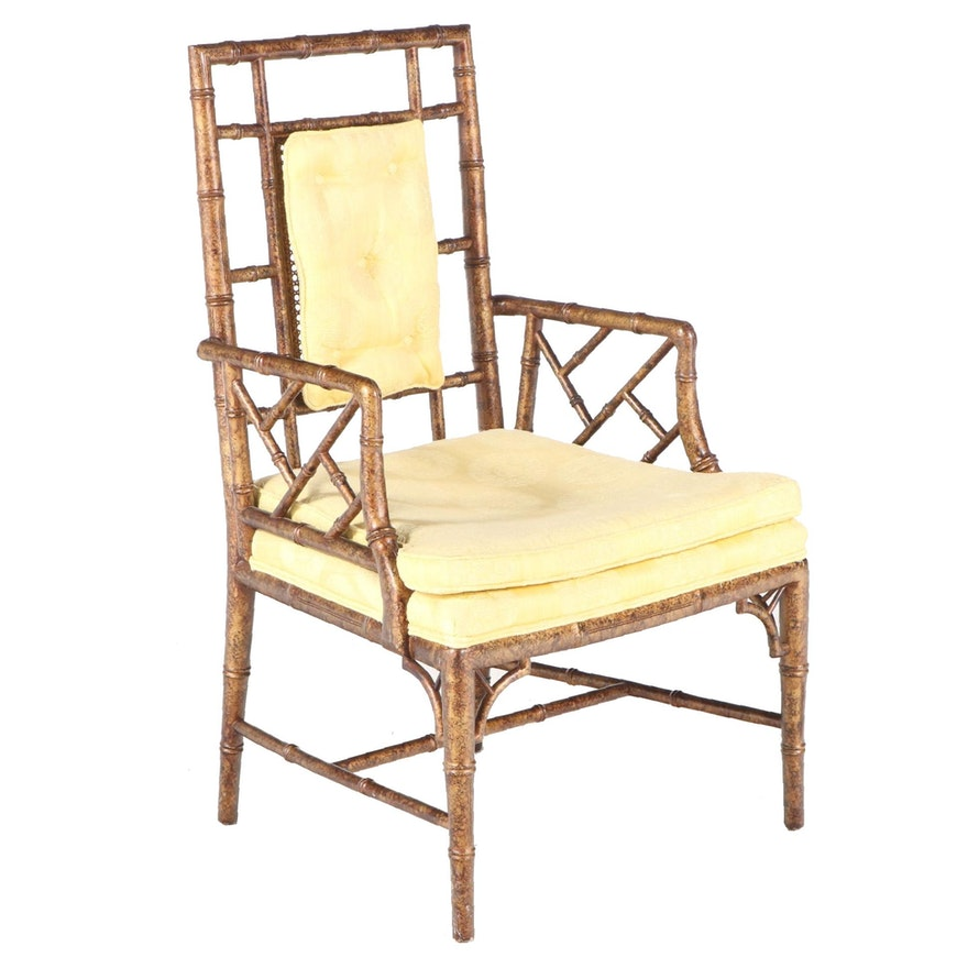 Chinese Style Ebonized and Gilt-Decorated Faux-Bamboo Armchair