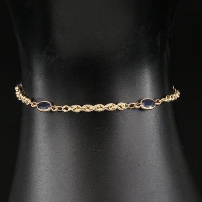 14K Sapphire Station Bracelet